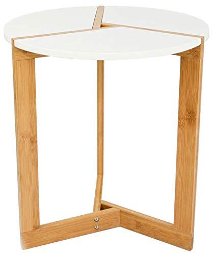 DuneDesign Nordic Style Beistelltisch - 40 x 45 cm Holz Tisch Rund - Couchtisch Nachttisch Weiß