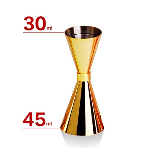 Doseur En Acier Inox Cocktail Mesure Alcool Jigger Single Double Verre Bar 30 / 45ml, 45 / 60ml FENGMING (Couleur : Or, taille : 30/45ml)
