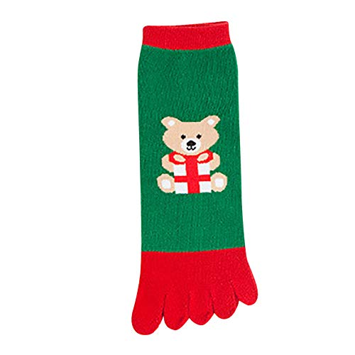 BaZhaHei Damen Mode Bequem Socken Winter Warm Weihnachtsdruck Mehrfarbenzehen Socken Fünf Finger Socken-Baumwolllustige Socken Wandersocken Trekkingsocken Sportsocken