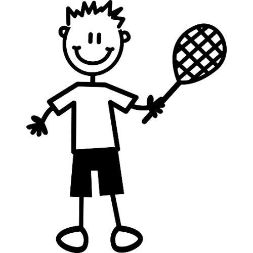 Auto-Aufkleber ~ Aufkleber ~ 'My Family' ~ Junge mit Tennisschläger (B9)