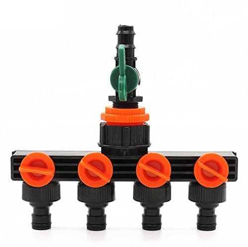 NEBSM 1 Equipo Splitter de Agua de Manguera de jardín Apague el Conector de riego 4 Maneras del Adaptador de Grifo del Grifo con DN16 Apagar Jardinería Riego