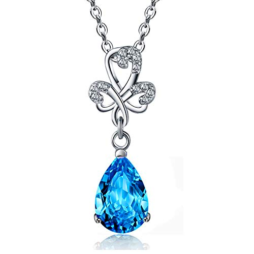 Maylover 14k White Gold Plated 925 Sterling Silver 3 Prong Pear Shape Cubic Zirconia Crystal Micro-Inlay Heart Pedant Necklace, CZ...