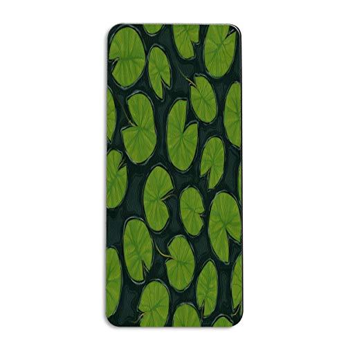 Tapete antideslizante para yoga con hojas de loto verde de PINLLG para gimnasio, pilates, esterillas de fitness para mujeres y niños, 72 x 61 cm, color multicolor, tamaño 72x24 inch