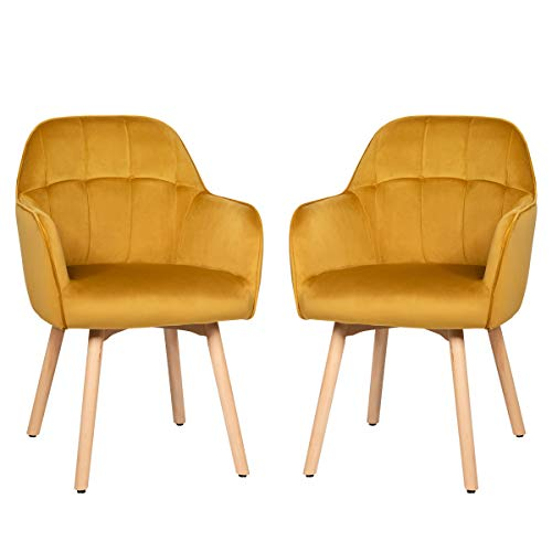 Giantex Modern Velvet Arm Dining Chairs Set of 2, Cute Chairs w/Solid Wood, Non-Slip Foot Pads, Comfortable Accent Leisure Chair for Living Room, Dining Room, Bedroom (2, Yellow)