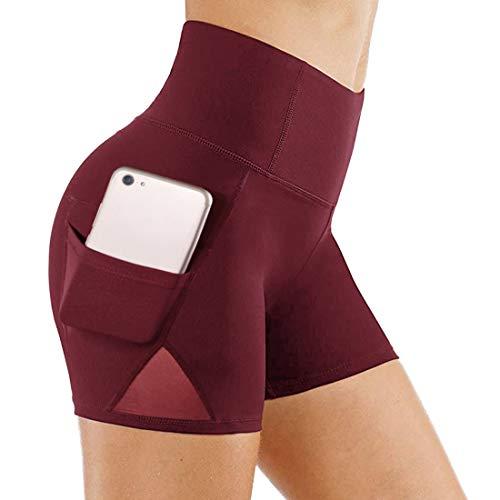 TYUIO Yoga-Shorts mit hoher Taille, für Damen, Netzstoff, für Fitnessstudio, Training, Laufen, Athletik, Biker, kurz - Rot - Groß