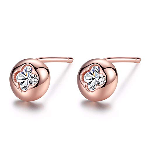 Rose Gold Color Women 925 Sterling Silver Earrings Small Round Shape Single Clear Zircon Inlay Stud Earring Jewelry