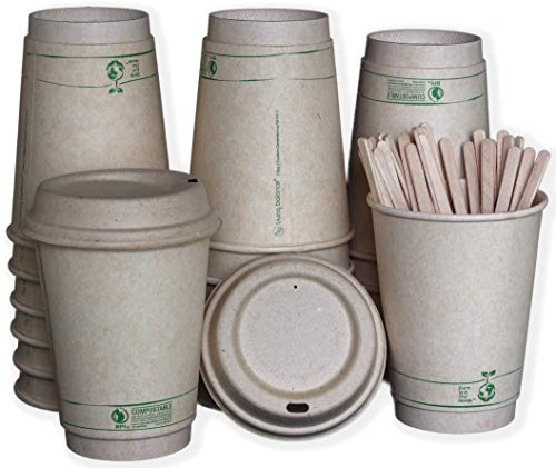 Disposable Compostable Coffee Cups with Stirrers, Integrated Sleeves, and Biodegradable Lids. | 12 Ounce - 75 Pack