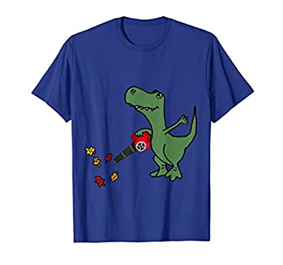 Smilealottees Funny T-rex Dinosaur using Leaf Blower T-shirt