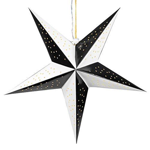 Papierstern 3D 10 LED schwarz weiß Weihnachtsstern Faltstern Batterie mit Timer Leuchtstern Weihnachtsfaltstern Weihnachtsdeko Fensterdeko
