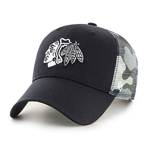47 Brand Chicago Blackhawks White Camo Back Switch MVP NHL Trucker Cap, One Size