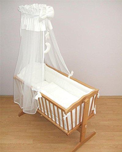 Parure de lit, 10 pièces, pour bébé de 90 x 40 cm Motif : Ours dans la lune, blanc