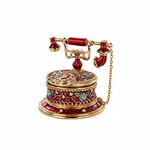 PJHFHU Caja de baratijas de joyería en Forma de teléfono de la Vendimia, Caja de baratijas de joyería de teléfono de colección, for la decoración del hogar Cumpleaños (Color : Red)