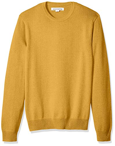 Amazon Essentials Men's Crewneck Sweater, Mustard Heather, Large