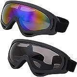 Gafas de esquí,2 Piezas Gafas de Moto,Gafas al Aire Libre,UV400 Gafas de Protección UV,Gafas a Prueba de Viento,Gafas a Prueba de Polvo,Ajustables,para Hacer Esquí, Motociclismo,Ciclismo,Escalada