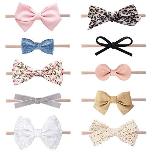 DRESHOW Baby Mädchen Stirnbänder und Haarschleifen Nylon Stirnbänder 10 Packung Haarschmuck für Neugeborene Kleinkinder Kinder