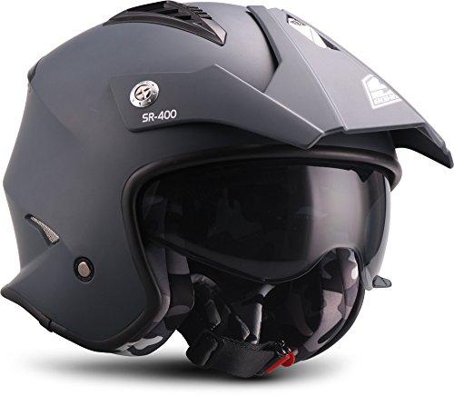 "SOXON® SR-400 Mono ""Navy"" · Jet-Helm · Motorrad-Helm Roller-Helm Scooter-Helm Moped Mofa-Helm Chopper Retro Vespa Vintage Pilot · ECE 22.05 Sonnenvisier Schnellverschluss Tasche M (57-58cm)"