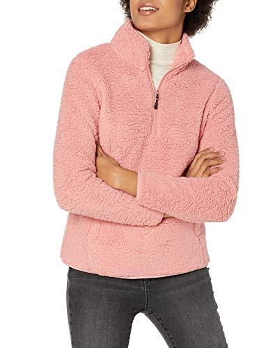 Amazon Essentials Polar Fleece Lined Sherpa Quarter-Zip Jacket Outerwear-Jackets, Blush, US XL (EU 2XL)