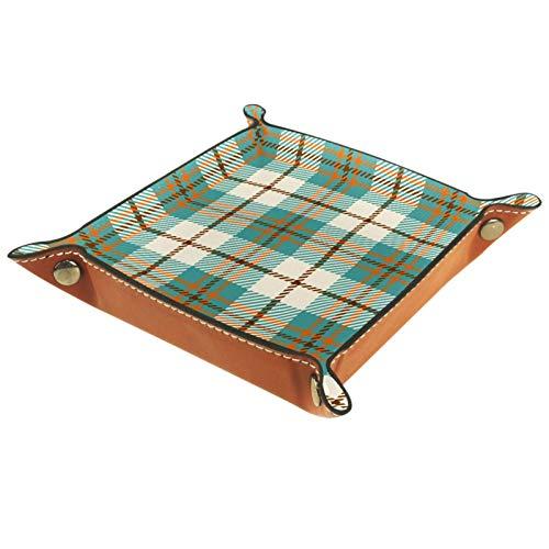 AITAI Valet Tray Vegan Leather Bedside Organizer Desk Storage Plate Catchall Green Scottish Plaid