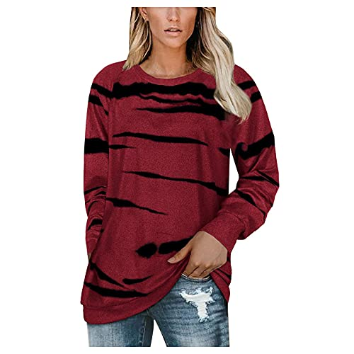 Camiseta de manga larga para mujer, manga larga, sudaderas de gran tamaño, informal, para otoño, vino., M