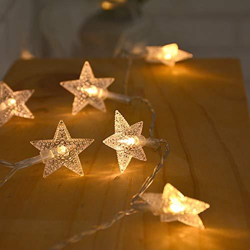 Led-lichtsnoer, gordijn raam tuin buiten sprookjes licht tuin zomer ster licht in de vorm van een ketting sterrenvorm in de vorm van een USB-lantaarn warmwit, 6 meter 40 modellen met USB-accu