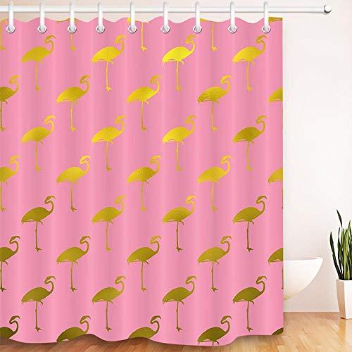 WACYDSD Gold Flamingo Pink Duschvorhänge Wasserdicht Polyester Bad Vorhangstoff Mit 12 Haken Für Badewanne Home Decor Benutzerdefinierte Größe W150xH180CM