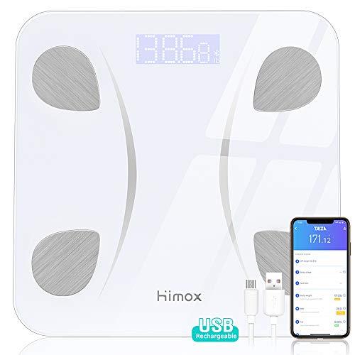 Himox Körperfettwaage Bluetooth 4,1 für 23Körperdaten Körperanalysewaage mit Smart App USB Rechargeable Personenwaage Smart Digitale Waage für Körpergewicht Muskelmasse BMI BMR Maximale 180kg