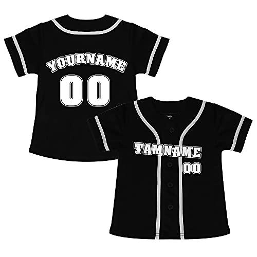 TopTie Camiseta de béisbol para niños de diseño Personalizado, Jersey para niños con Botones
