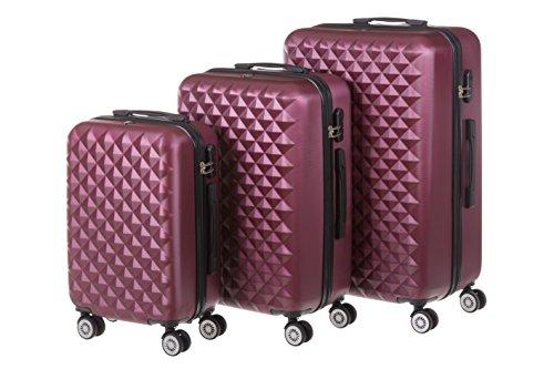 Kofferset met harde schaal MONACO 3-delig maat M + L + XL, 56 + 65 + 75 cm, 42 + 68 + 110 liter met 360 ° wielen en cijferslot in verschillende kleuren.