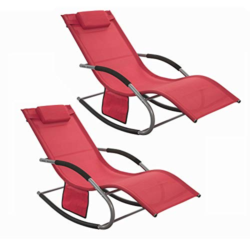 SoBuy OGS28-R Set of 2 Rocking Garden Loungers with Footstool, Sun Lounger – Red