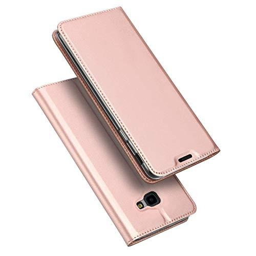 Verco Handyhülle für Galaxy J4+, Premium Handy Flip Cover für Samsung Galaxy J4 Plus Hülle [integr. Magnet] Book Hülle PU Leder Tasche, Rosegold