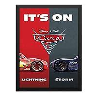 ハンギングペインティング - カーズ3 CARS 3 クロスロード ディズニー 4のポスター 黒フォトフレーム、ファッション絵画、壁飾り、家族壁画装飾 サイズ:33x45cm(額縁を送る)