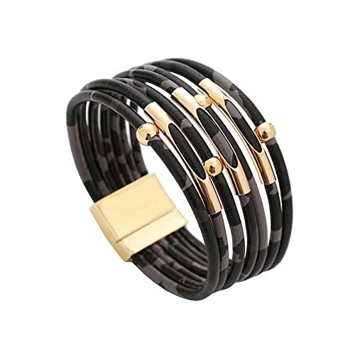xingguang Pulsera vintage de piel de leopardo para mujer 2021 pulseras y brazaletes elegantes de múltiples capas de cuero (color metal: leopardo negro)