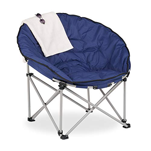 Relaxdays Moon Chair XXL, Faltbarer Campingsessel, HBT: 96 x 100 x 72 cm, gepolstert, Klappsessel mit Tragetasche, blau
