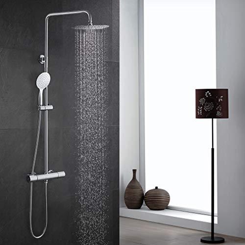 ubeegol Messing Duschsystem mit Thermostat Regendusche Duscharmatur Duschset inkl. Überkopfbrause, ABS Handbrause, Edelstahl verstellbarer Duschstange (Ohne Dusche Armatur)