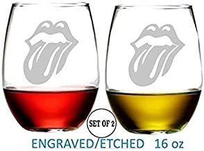 Music Rock Bands Rolling Stones Stemless Wine Glasses Etched Engraved Gifts Fun Handmade Present for Everyone Set of 2