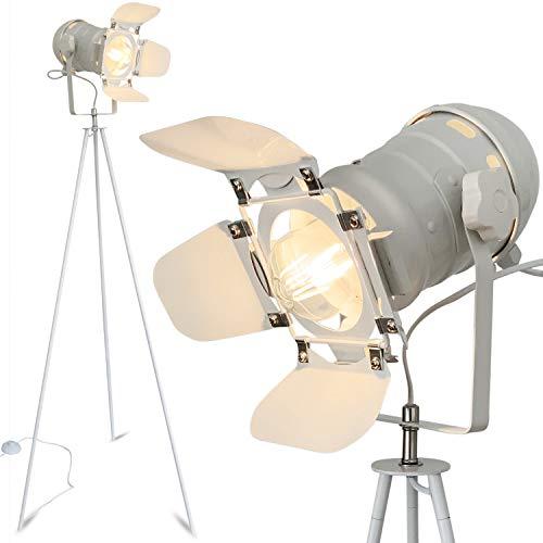 mojoliving Stehleuchte Stativ aus Metall für das Wohnzimmer Schlafzimmer Deko Tripod Retro Studio Design Stehlampe mit Dreifuss Gestell (Stativ Weiss Schirm Weiss)