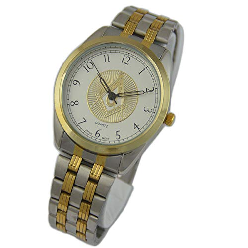 Square & Compass Fold Over Masonic Wrist Watch - [Gold & Silver]