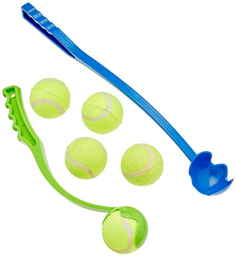 Relaxdays Lanzador Pelotas, Juego de 2 Unidades con 5 Bolas, Juguete Perros, Plástico, Azul y Verde