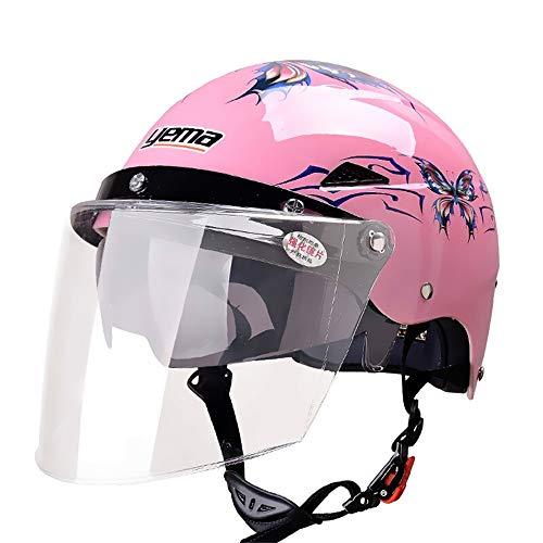 Double objectif été Harley casque quatre saisons casque de moto électrique protection contre le soleil demi casque unisexe blanc avec lentille longue transparente (Color : Pink)