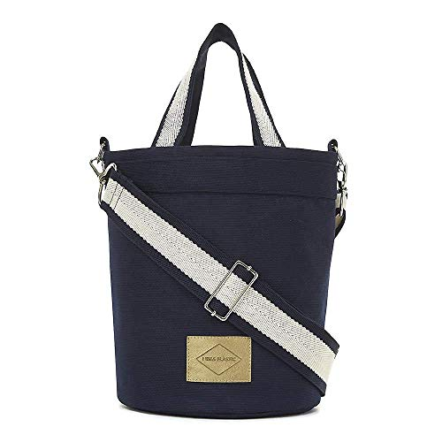 Eco Friendly Navy and Ivory Reversible Bucket Bag for Women. Recycled Polyester Canvas Fabric and Cotton Canvas. Handle and Shoulder Straps Included. IWP I WAS PLASTIC