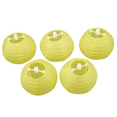 SODIAL(R) 5pcs 4 inch 10cm Round Paper Lantern for Birthday Wedding Party decor gift craft DIY creavtive(Lemon yellow)