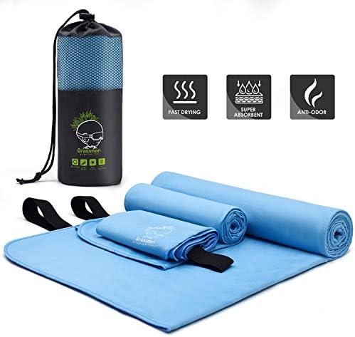 Grassman Camping Towel Fast Drying Sport Towel with Elastic Loop Super Absorbent Microfiber product image