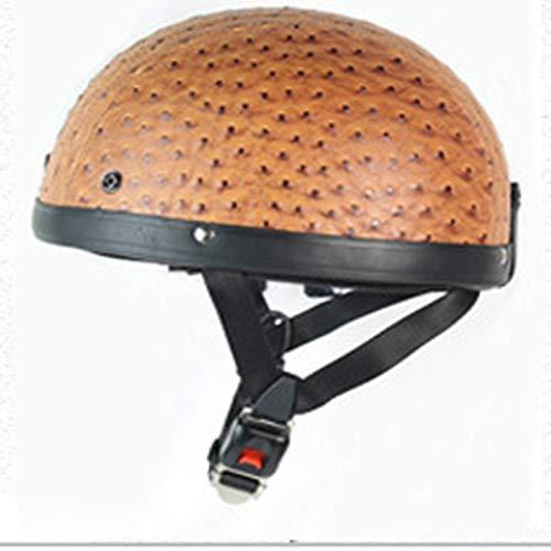 XUEQQ Helme E-Motorräder Mopedhelme Retro-Helme Halbhelme für Damen und Herren Lederhelme Vierjahreszeiten-Universalhelm