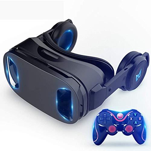 Realidad Virtual 3D Gafas de 120 °, Lentes Anti-luz Azul, Auriculares estéreo, for Todos los teléfonos Inteligentes con Largo por Debajo de 6,3 Pulgadas (Size : Black Gold Edition)