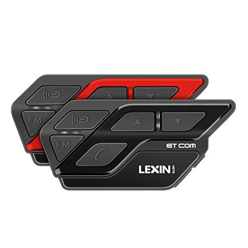 LEXIN 2X ET-COM Casco Intercomunicador Bluetooth Sistema de comunicación, con función de Prueba de Agua reducción de Ruido DSP y CVC,Radio FM, Distancia de intercomunicación Dentro de 1200