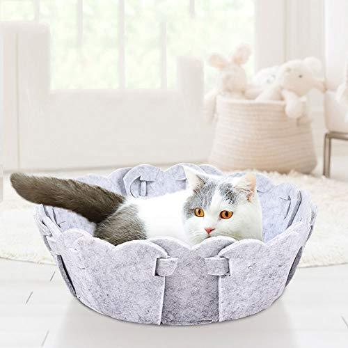 FUULI Cat Removable Bett Relax Station House, Handmade Eco Friendly Natur Wollfilz, warm und gemütlich Betten für Katzen und Kätzchen Bonus Wollfilz Kugel