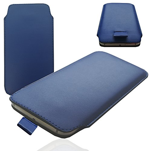 MOELECTRONIX 1A BLAU Slim Cover Hülle Schutz Hülle Pull UP Etui Smartphone Tasche passend für Siswoo C55 Longbow