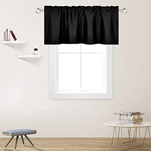 DECOVSUN Black Valance for Windows 42x18 Inch Solid Thermal Insulated Blackout Rod Pocket Kitchen Short Curtain Toppers Valance for Bathroom Living Room 1 Panel