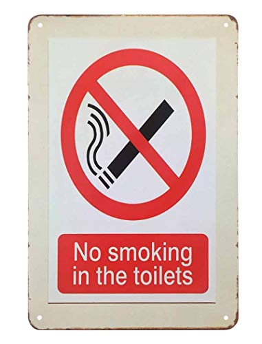 AOYEGO No Smoking Tin Sign,Waring Plaque Don't Smoke in The Toilets White Red Vintage Metal Tin Signs for Cafes Bars Pubs Shop Wall Decorative Funny Retro Signs for Men Women 8x12 Inch