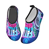 FA_Ll Poster Gu_Ys - Calzado acuático para niños y niñas, antideslizantes, de secado rápido, para playa, natación, caminata, Black, 23 EU